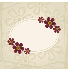 Greeting card with flowers in tattoo style on vector image