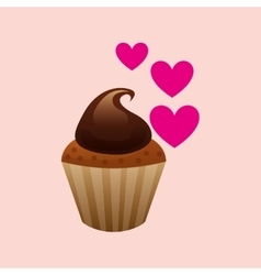 Heart cartoon sweet cup cake cream chocolate icon vector