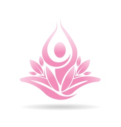 Lotus yoga person spiritual logo vector image vector image
