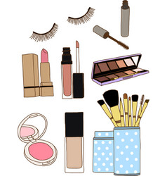 Makeup brushes in cup and cosmetics vector