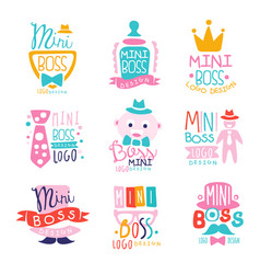 Mini boss logo design colorful hand drawn vector