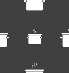 pan cooking icon sign Seamless pattern on a gray vector image