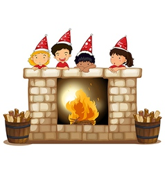 Playful kids at the fireplace vector image vector image