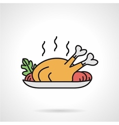 Poultry dish flat color icon vector image