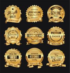 Retro golden badge collection vector
