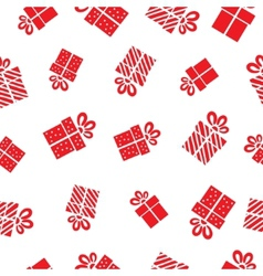 Seamless Gift pattern red gift boxes on white vector image vector image