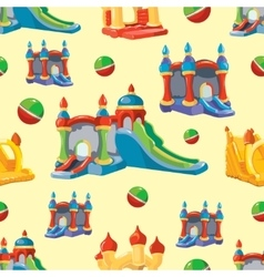 Seamless pattern of inflatable castles and vector