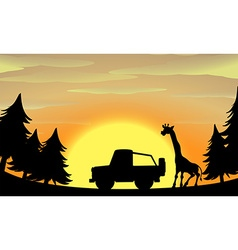 Silhouette nature scene with giraffe and jeep vector