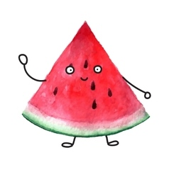 watercolor super friendly watermelon vector image