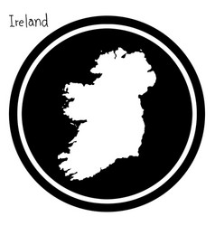 White map of ireland on black circle vector
