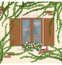 Wooden window overgrown ivy vector