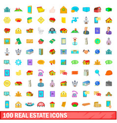 100 real estate icons set cartoon style vector