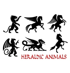 Heraldic animals emblems silhouette elements vector