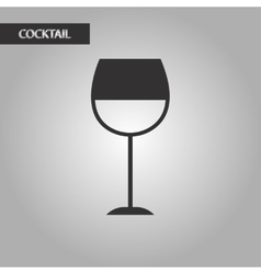 Black and white style glass wine vector