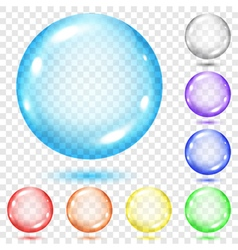 Set of transparent colored spheres vector image