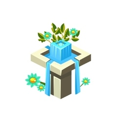 Classy square fountain isometric garden vector