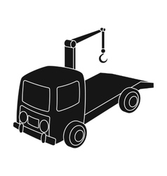 Tow truck icon in black style isolated on white vector image