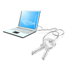 Laptop keys access concept vector