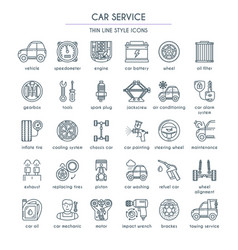 Car service line icon set vector