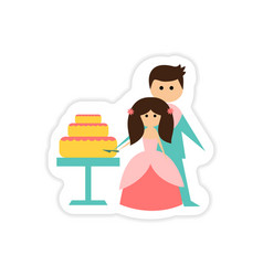 Paper sticker on white background bride groom cake vector