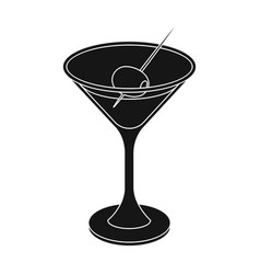 A glass of alcohol with oliveolives single icon vector