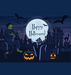 Happy halloween postcard vector