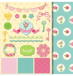 Design elements - floral shabby chic theme vector