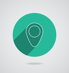 Map pointer flat single white icon long shadow vector
