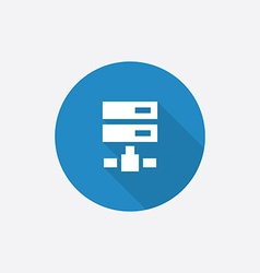 net drive Flat Blue Simple Icon with long shadow vector image