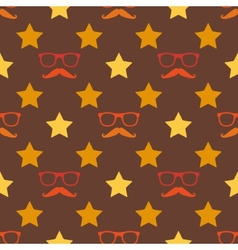 Hipster moustache and spectacles seamless pattern vector
