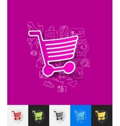 Shopping paper sticker with hand drawn elements vector