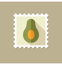 Avocado flat stamp with long shadow vector