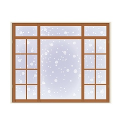 Wooden window with frost vector