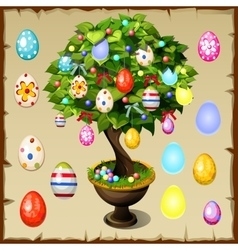 Bonsai decorated with colorful easter eggs vector