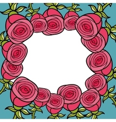 Frame of pink roses vector