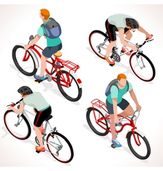 Boy teen cycling isometric people vector