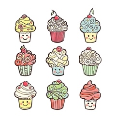 Set of colorful sweet cupcakes isolated on white vector