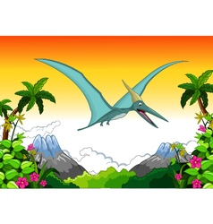 Happy pterodactyl cartoon flying vector