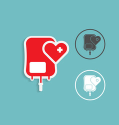 blood bag donation with heart shape medical vector image vector image