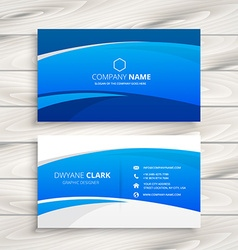 Blue wave business card vector