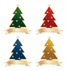 Christmas trees with ribbons vector image vector image