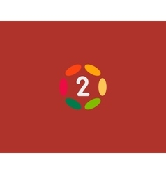 Color number 2 logo icon design hub frame vector