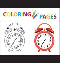 coloring book page red alarm clock sketch vector image vector image