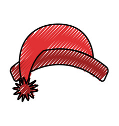cute scribble christmas hat vector image vector image