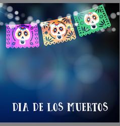 Dia de los muertos or halloween card invitation vector