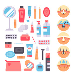 Facial care skin problems clean vector