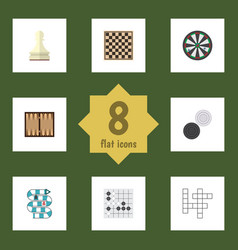 Flat icon play set of gomoku guess dice and vector