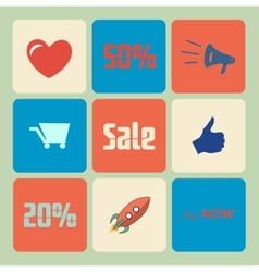Flat Sale Icons vector image vector image