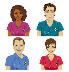 Group of young hospital workers in scrubs vector