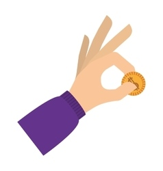 Hand holding coin with purple sleeve vector